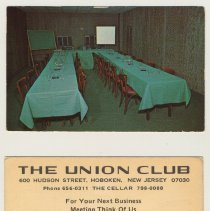Image of Trade card: The Union Club, 600 Hudson Street, Hoboken, N.J.; The Cellar. N.d., ca. 1965-1975. - Card, Trade