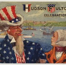 Image of 6: Uncle Sam & Dutch woman with naval parade on river