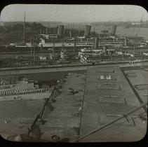 Image of Lantern slide: 52 (16762) Great Ocean Liners at the Docks, Hoboken, N.J. Keystone View Co., Factories, Meadville, Pa. No date, circa 1916-1917. - Transparency, Lantern Slide