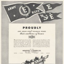 "Image of Ad (World War II): Proudly Our Men and Women Wear Their Emblems of Honor [Military ""E"" Awards]. Keuffel & Esser Co., n.d., ca. 1943. - Ad, Magazine"