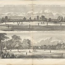 Image of pp 664-665 illus:The Cricket Match...; A Baseball Match...at Elysian Fields