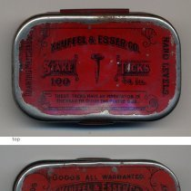 Image of stake tacks container: top, bottom, front, back