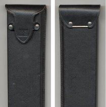 Image of black leather case (sheath): front with blind logo on flap; back