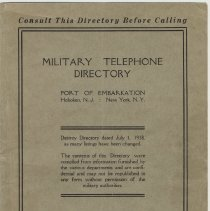 Image of Military Telephone Directory, Port of Embarkation, Hoboken, N.J.; N.Y., N.Y. Sept. 1918. Issued by Information Office, Hoboken. - Directory, Telephone