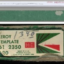 Image of template with box; detail of printed label on end of box tray