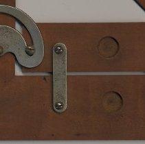 "Image of detail front lower right: ""Pat'd Dec. 18, '94""; parallel bar & mechanism"