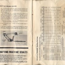 Image of pp 8 + [9] inside back cover: list of scales for Paragon drafting machines