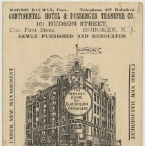 Image of Card, trade: Continental Hotel & Passenger Transfer Co., 101 Hudson St., Hoboken, N.J. N.d., ca. 1910-1914. - Card, Trade