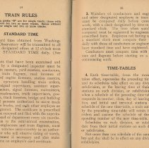 Image of pp 14-15: Train Rules; Standard Time; Time-Tables
