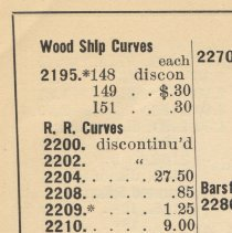 Image of detail from revised price list, April 1920 showing discontinued & policy