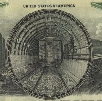 Image of detail vignette of train in tunnel with exterior views
