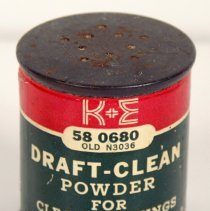 Image of K&E Draft-Clean Powder, 58 0680; old N3036, distributed by Keuffel & Esser Co., n.d., 1956-1965. - Can