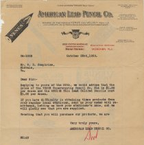Image of Letterhead: American Lead Pencil Co., Executive Offices, Hoboken, N.J., Oct., 1928. - Letter