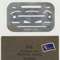 Image of Erasing shield N3409; stamped metal with K&E logo. Made by Keuffel & Esser Co., n.d., ca. 1942-1955. - Shield, Erasing