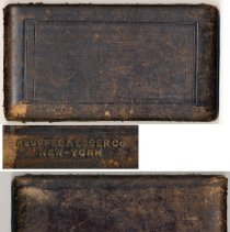 Image of top and bottom of case with detail of K&E top mark, lower left corner