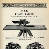 Image of pg 441 38th edition catalog: depiction of alidade on plane table, tripods