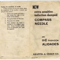 """Image of Product sheet: """"New extra sensitive induction damped Compass Needle on K&E Paragon Alidades."""" Copyright 1951. This copy issued 1959. - Alidade"""