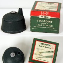Image of example 2 including top view of sharpener and box