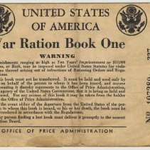 Image of War Ration Book One issued to Arthur Emil Becker, 207 Garden St., Hoboken, May 4, 1942. - Book, Ration
