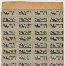 Image of typical sheet of coupons or stamps, used; plane motif
