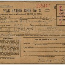 "Image of War Ration Book No. 3 (or  ""Book 4"".) 3 books issued to the Becker family , 207 Garden St., Hoboken, 1943 or possibly 1944. - Book, Ration"