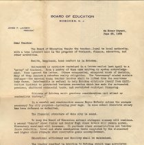 "Image of TLS addressed to ""Teacher"" from J.P. Laverty, Pres., Hoboken Board of Education, June 23, 1932. - Documents"