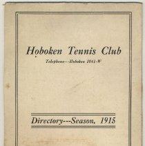 Image of Hoboken Tennis Club. Directory - Season, 1915. - Directory, Membership