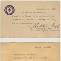Image of top:1947 American Red Cross postcard; 1948 postal card