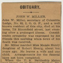 Image of clipping 1: obituary, John W. Miller (probably Observer, Aug. 24-25, 1899)