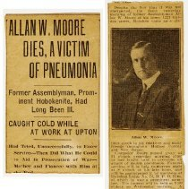Image of Newsclipping: published obituary of Allan W. Moore, Hoboken, no newspaper named or date, ca. Apr. 11, 1919. - Documents
