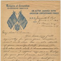 Image of letter 6, pg 1 of 2: from Chaplain Joseph Kelly, A.E.F., June 2, 1919.