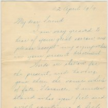 Image of letter 3, page 1 of 3: Martin Henley, Mt. Carmel, Ill, April 22, 1919