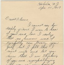 Image of Condolence notes sent to Florence Miller, Hoboken, Apr.-June, 1919 on the death of her fiance, Allan W. Moore. - Correspondence
