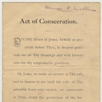 "Image of Prayer pamphlet: ""Act of Consecration."" From funeral services for Allan W. Moore; owned by Florence G. Miller, n.d., ca. Apr. 12-13, 1919. - Pamphlet"