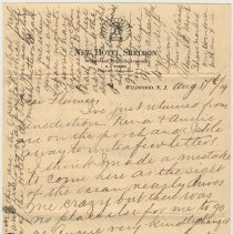 Image of LS to Florence Miller of Hoboken from Annie E. Moore, Wildwood, N.J., August 17, 1919. - Letter