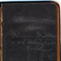 Image of front free endpaper (enhanced) with penciled name and address