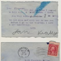 """Image of 3: note to """"Florence"""", School No. 4, from child, Jane Kealey, 1931"""