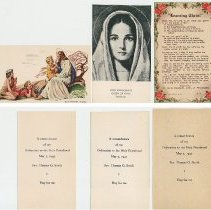 Image of 3 remembrance cards, front and back