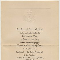 Image of Invitation: First Solemn Mass by the Rev. Thomas G. Smith, Church of Our Lady of Grace, Hoboken, May 6, 1945. - Invitation