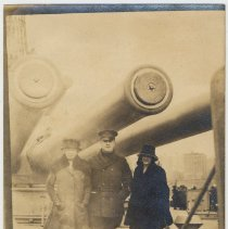 Image of Sepia-tone photos, two, of Florence Miller et al, aboard the deck of a naval vessel, no place, (probably Atlantic City, N.J.), n.d., ca. 1919-1925. - Print, Photographic