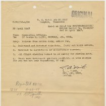 Image of document 2: April 22, 1947; from Commanding Officer re release