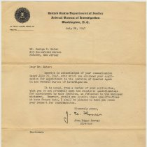 Image of Letter from J. E. Hoover, Director, FBI, to George R. Maier, 833 Bloomfield St., Hoboken, July 28, 1947. - Documents