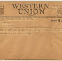 Image of Telegram with birthday wishes to George [A.] Maier, 108 7th St., Hoboken, Oct. 22, 1946. - Telegram