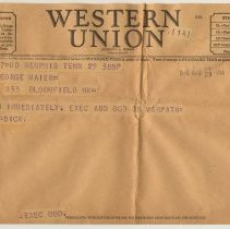 Image of Telegram to Lt. George R. Maier, 833 Bloomfield St., Hoboken, from Dick, Memphis, Tenn., Aug.29, 1946. - Telegram