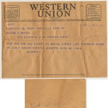 Image of Telegrams, 2, to George A. Maier, 833 Bloomfield St., Hoboken from Lt. George R. Maier, Memphis & Knoxville, Tenn., Oct. 10 & Dec 20, 1946. - Telegram