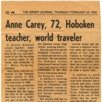 Image of Obituary of Thursday, Feb. 28, 1980 for Anne Carey, deceased February 27, 1980, Hoboken. - Documents