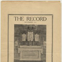 Image of Church bulletin: The Record. Nov., 1930. Church of the Holy Innocents, Hoboken. Sermon for Tercentenary Celebration, Oct. 5, 1930. - Newsletter