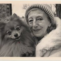 Image of front:  Louise Clem with her dog, Randy