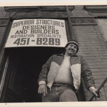 Image of B+W photo of Luis Rivera, construction worker, 8th and Washington Streets, Hoboken, n.d, ca. 1983-1988. - Print, Photographic