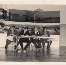 Image of B+W photo of a four-man panel at a waterfront development meeting, Hoboken, n.d, ca. 1983-1988. - Print, Photographic